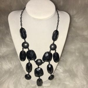 H&M hematite colored stone necklace